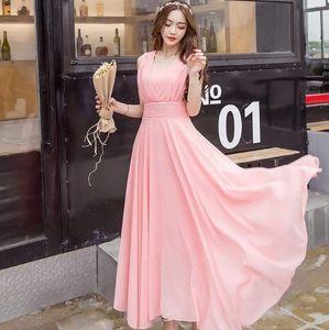 Solid Color Chiffon Dress Summer Sleeveles